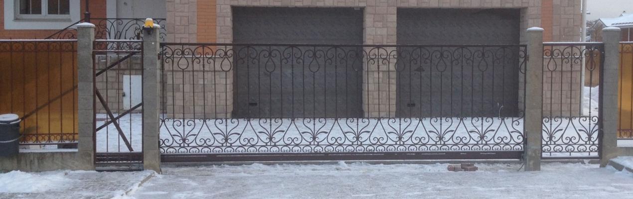 Ворота Откатные с каванными элементами