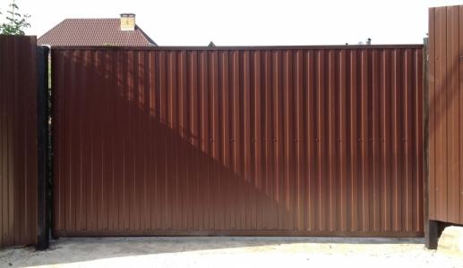 Ворота Откатные с профнастилом
