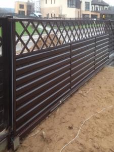 Ворота Откатные с профнастилом и решеткой